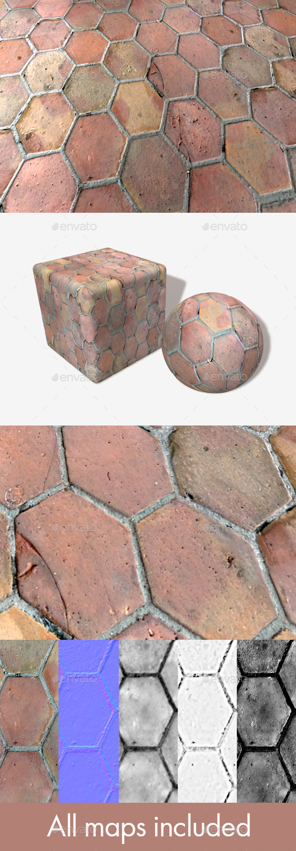 3DOcean Old Hexagon Floor Tiles Seamless Texture 20588842