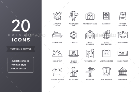 GraphicRiver Travel Line Icons 20588844
