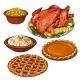 Roasted Turkey, Mashed Potato and Bowl of Corn