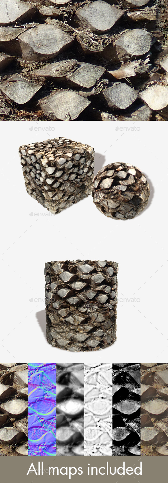 Palmtree Top Seamless Texture - 3DOcean Item for Sale