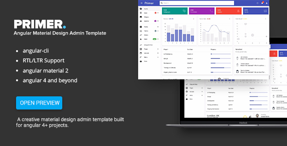 Image of Primer - Angular 6+ Material Design Admin Template