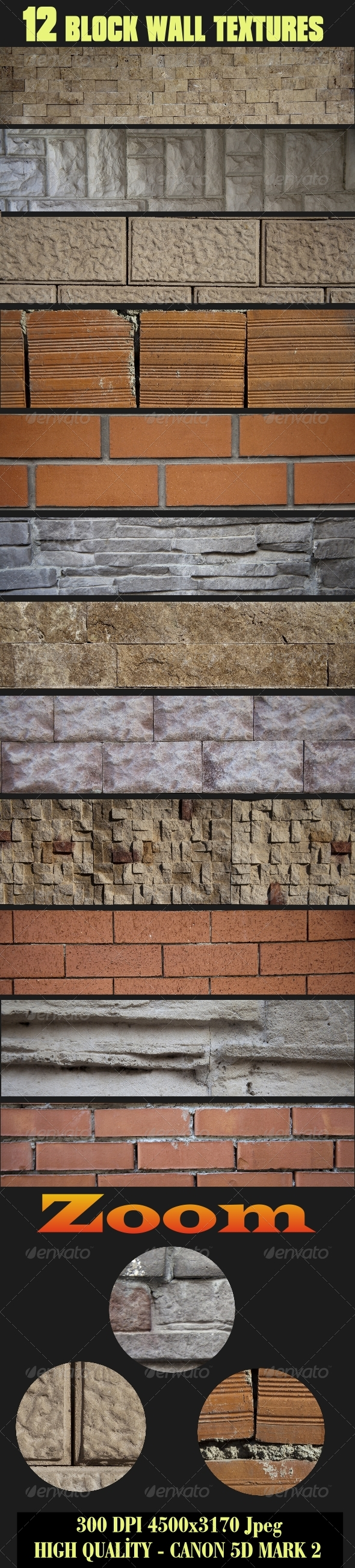 12 High Quality Block Wall Textures - Wood Textures