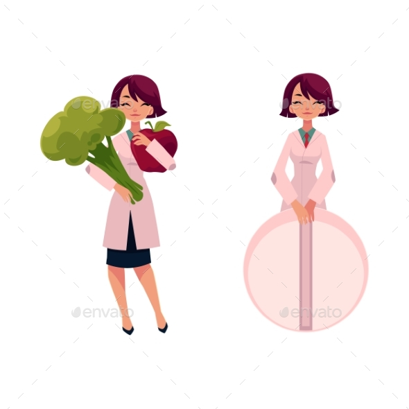 Woman Doctor Holding Huge Broccoli and Giant Pill - People Characters
