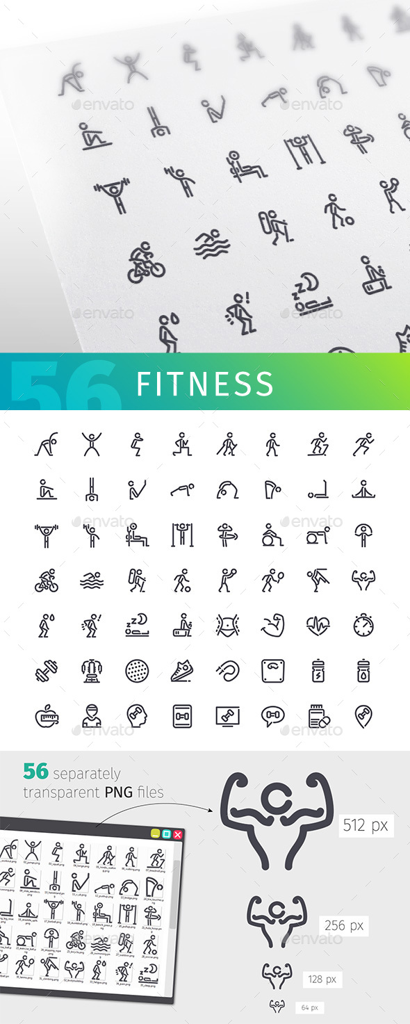 Fitness Line Icons Set - Man-made objects Objects