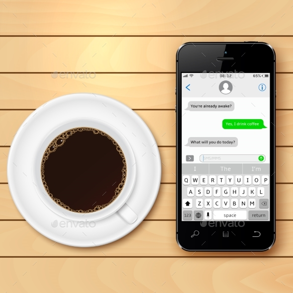 Mobile Phone with Sms Chat on Screen and Coffee - Technology Conceptual