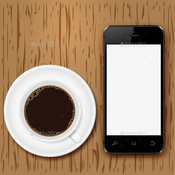 Mobile Phone with Blank Screen and Coffee Cup on - Technology Conceptual