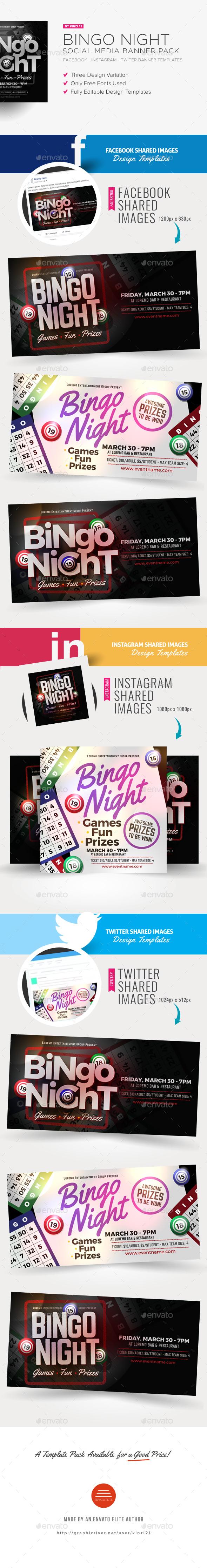 Bingo Night Social Media Banner Pack - Social Media Web Elements