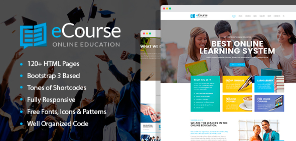 ThemeForest eCourse Learning Management System Online LMS HTML Template with Page Builder 20589376