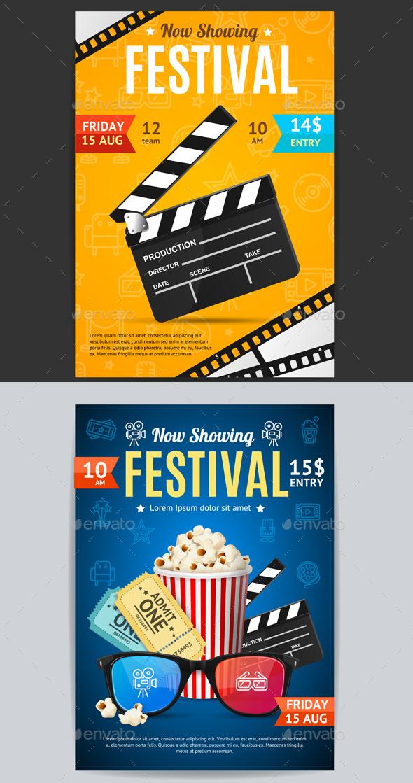 Cinema Movie Festival Poster Card Template. Vector - Sports/Activity Conceptual