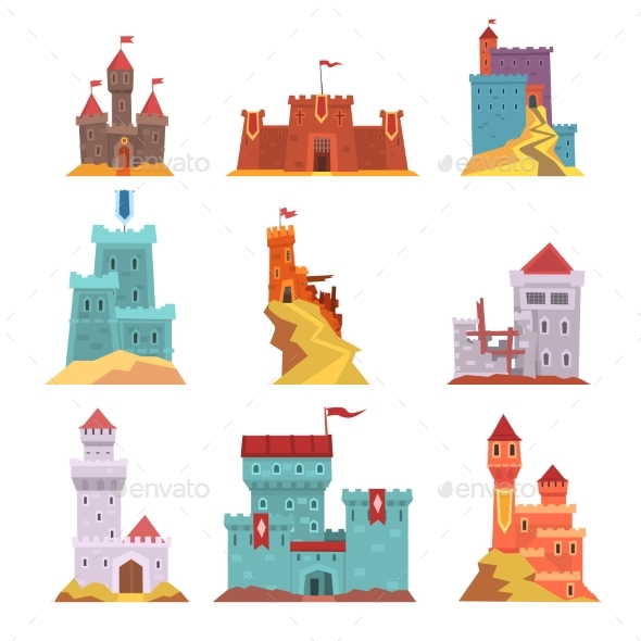 Ancient Castles and Fortresses Set, Various - Buildings Objects