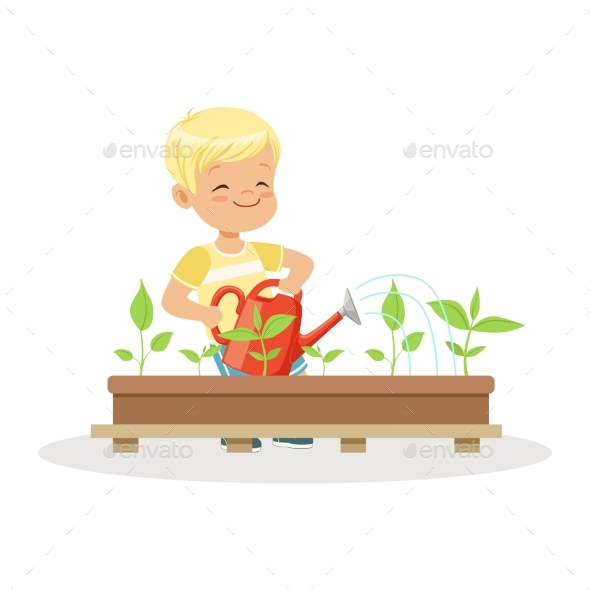 Boy Watering Plants From a Watering Can - Flowers & Plants Nature