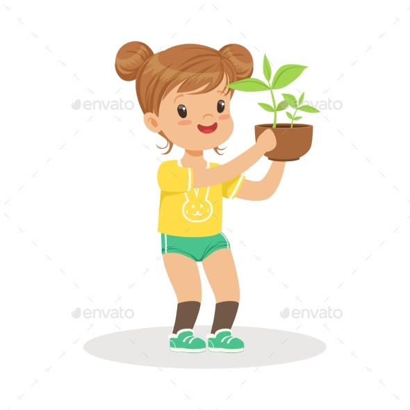 GraphicRiver Girl Standing and Holding a Plant 20590039