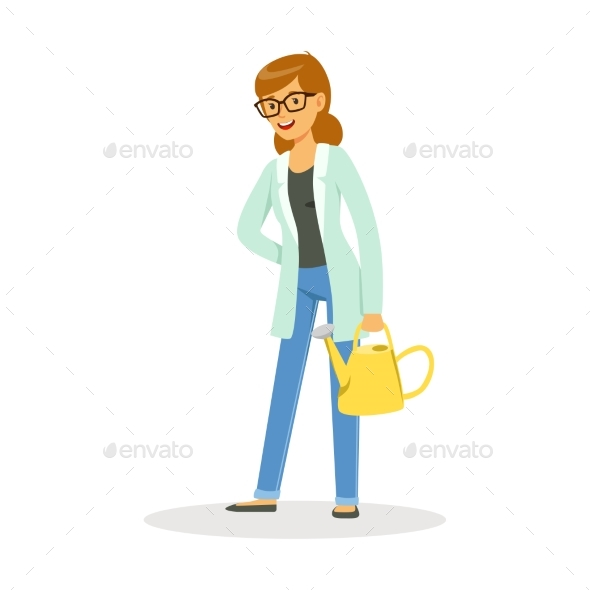 GraphicRiver Teacher of Botany Standing with a Watering Can 20590040