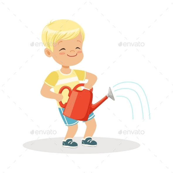 GraphicRiver Boy Standing with a Red Watering Can 20590043