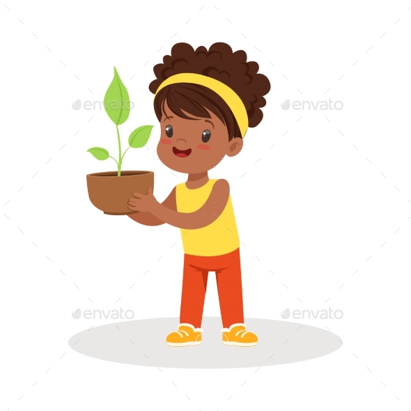 GraphicRiver Girl Standing and Holding a Plant 20590048