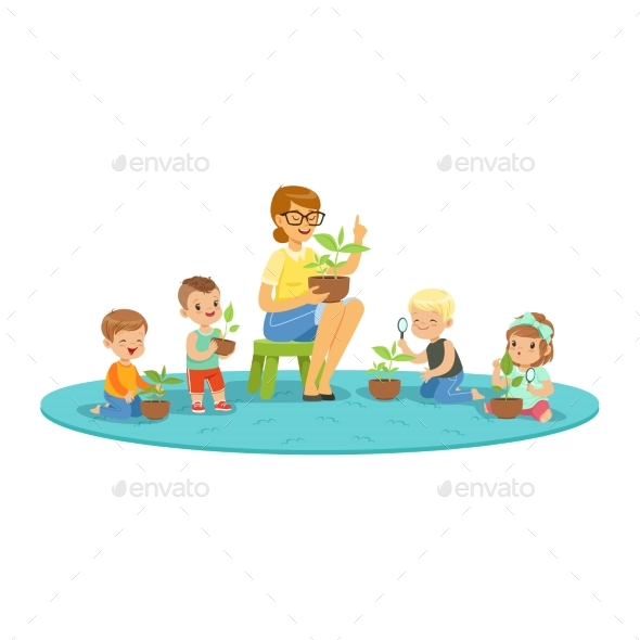GraphicRiver Teacher and Kids Learning About Plants 20590050