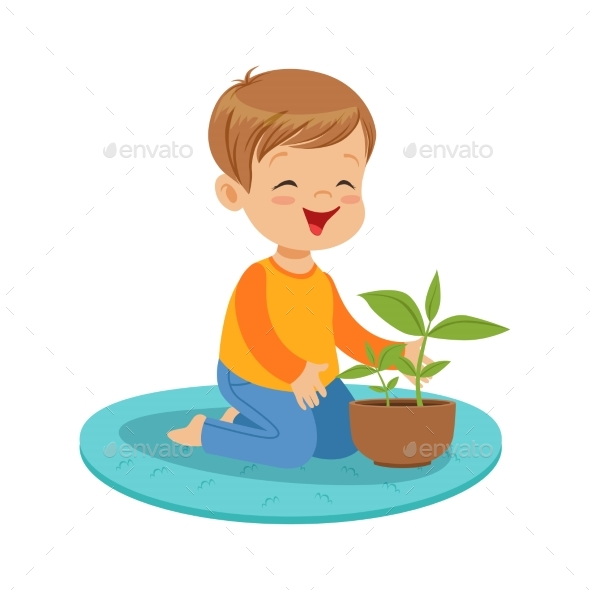 Boy Sitting on the Floor - Flowers & Plants Nature
