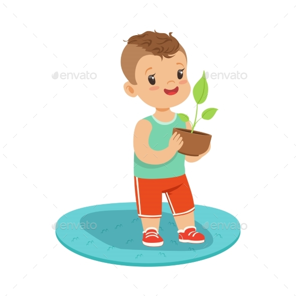 Boy Standing and Holding a Plant - Flowers & Plants Nature