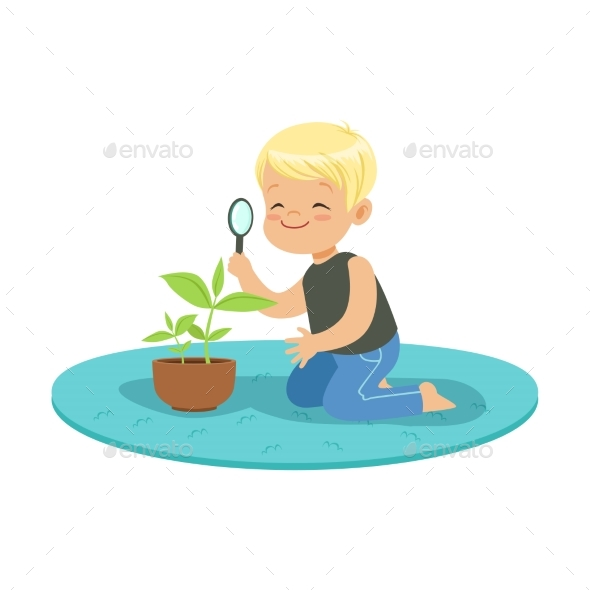 Boy Examining a Plant - Flowers & Plants Nature