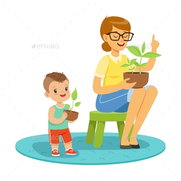 GraphicRiver Little Boy Learning About Plants with Teacher 20590064