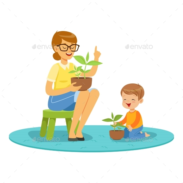 Boy Learning About Plants - Flowers & Plants Nature