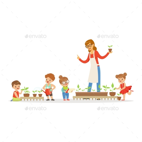 GraphicRiver Friendly Teacher Explaining Kids About Plants 20590071