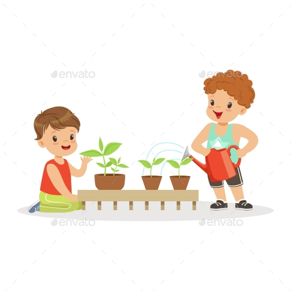 GraphicRiver Boys Caring for Plants During Lesson 20590073