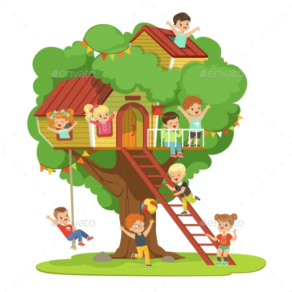 Kids Having Fun in the Treehouse, Childrens - Landscapes Nature