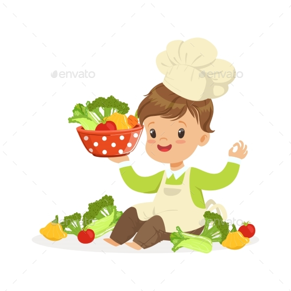 GraphicRiver Boy Chef Cooking Fresh Vegetables 20590132