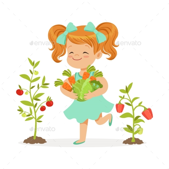 Girl Picking Vegetables - Food Objects