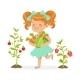 Girl Picking Vegetables