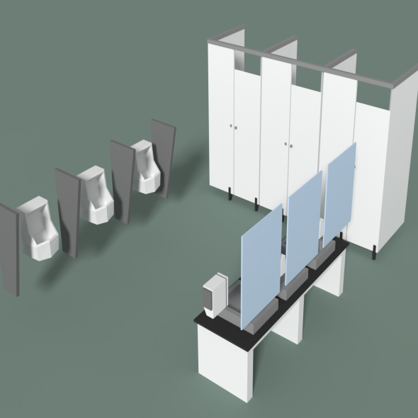 Low Poly Office Toilets - 3DOcean Item for Sale