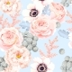 Seamless Pattern with Eustoma and Roses