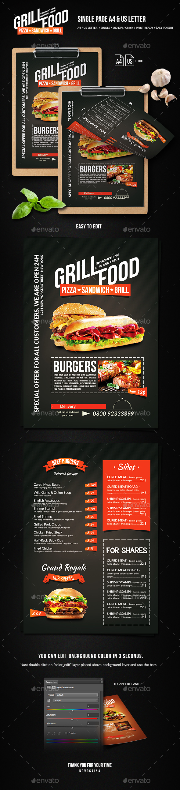 Grill BBQ Single Page Food Menu - A4 and US Letter - Food Menus Print Templates
