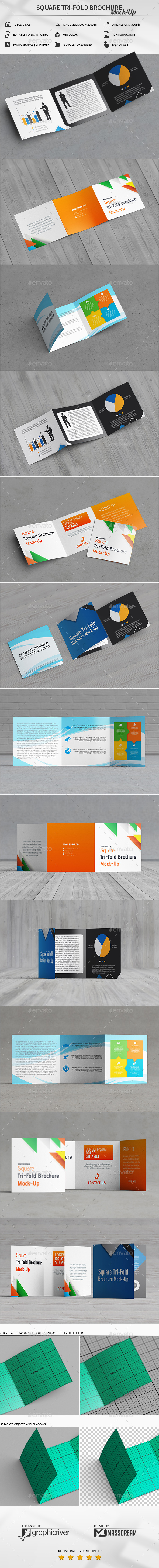 Square Tri-Fold Brochure Mock-Up - Brochures Print