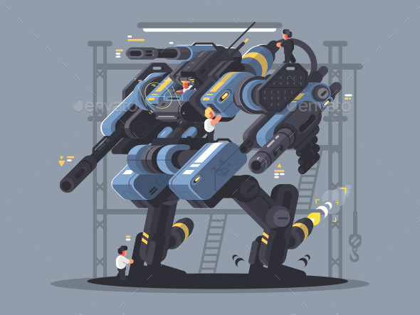 Military Exoskeleton Controlled By Man - Characters Vectors