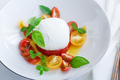 Caprese salad with red and yellow tomatoes, mozarella, basil and olive oil. - PhotoDune Item for Sale