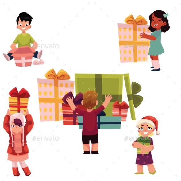 Kids, Children and Christmas Birthday Presents Set - People Characters