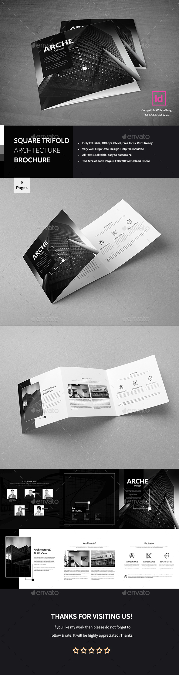 Architecture Square Trifold Brochure - Corporate Brochures