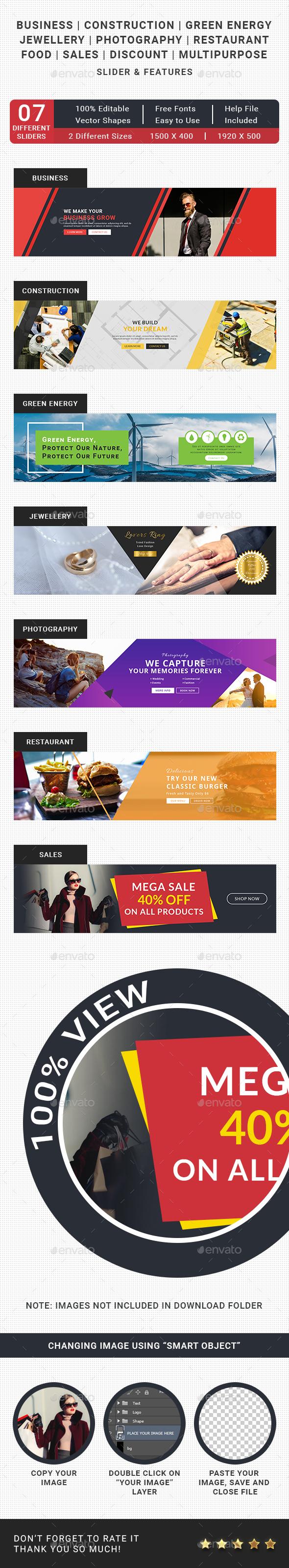 7 Creative Sliders - Sliders & Features Web Elements
