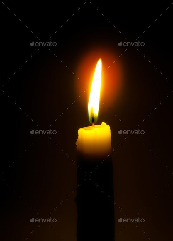 burning candle - Stock Photo - Images