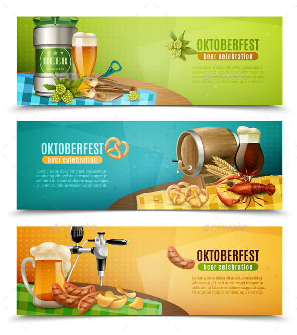 Oktoberfest Beer 3 Horizontal Banners Set - Backgrounds Decorative