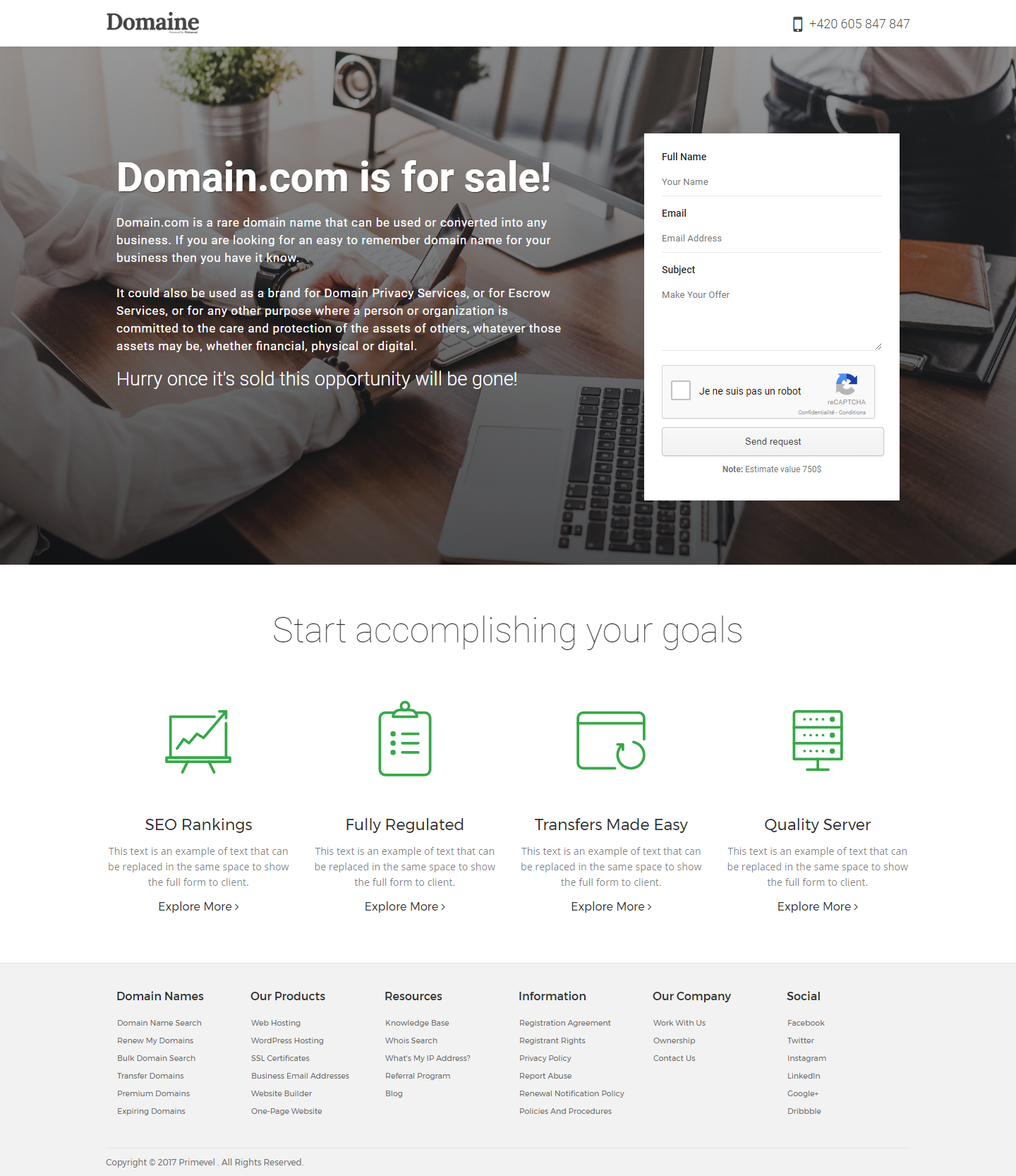 Domaine - Responsive Domain For Sale Template by Primevel   ThemeForest