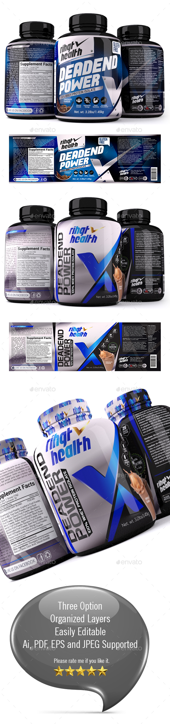 Supplement Label Template - 023 - Packaging Print Templates