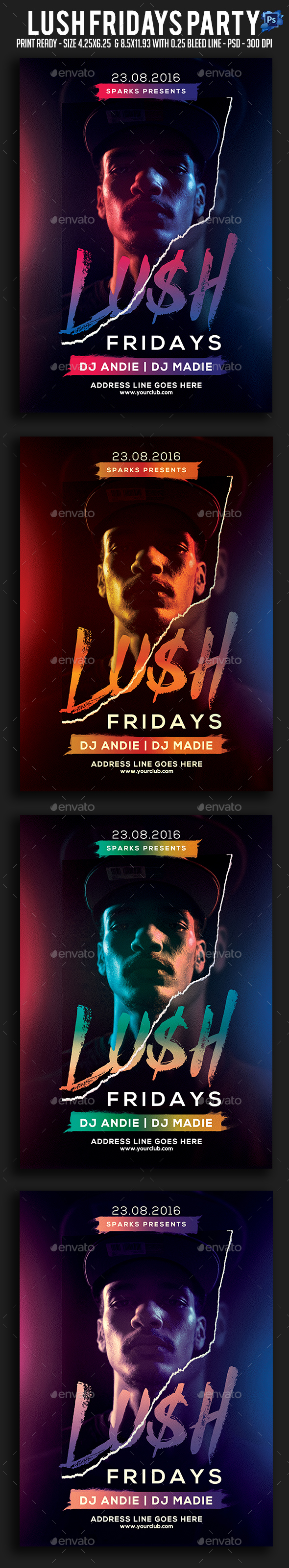 Lush Fridays Party Flyer - Clubs & Parties Events