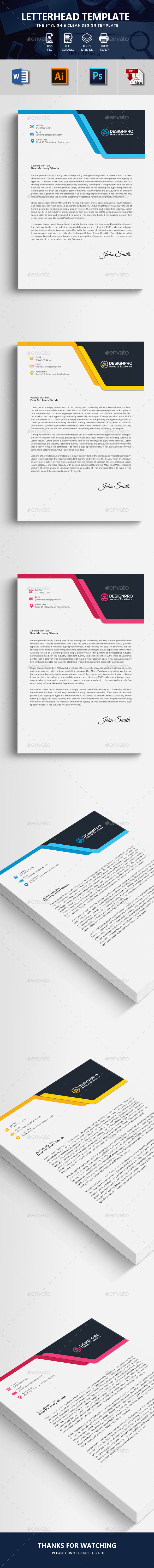 Professional Letterhead - Stationery Print Templates