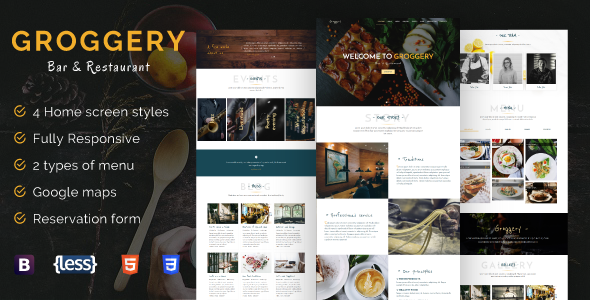 Groggery - Responsive Bar Restaurant & Cafe Template - Restaurants & Cafes Entertainment