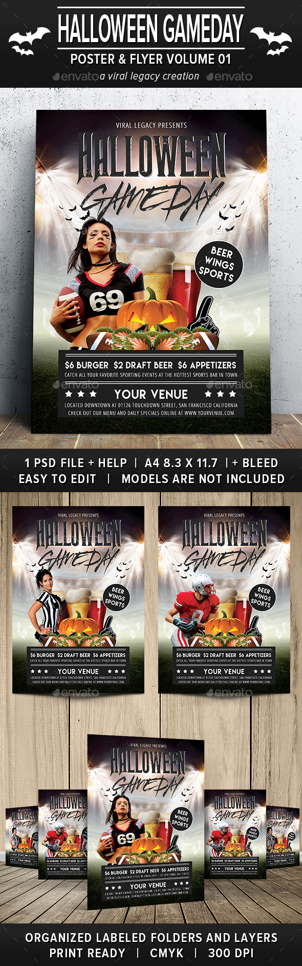 Halloween Gameday Poster / Flyer V01 - Sports Events