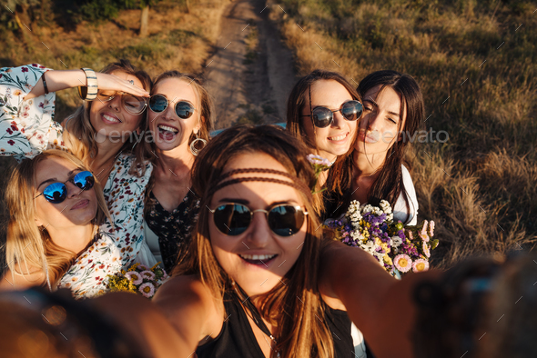 Beautiful girls make selfie - Stock Photo - Images