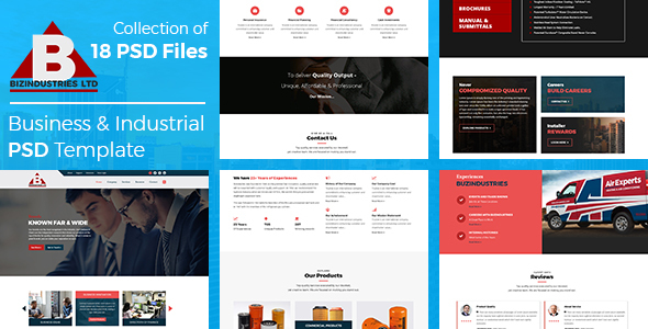 Bizindustries- Business and Industrial PSD Template - Corporate PSD Templates